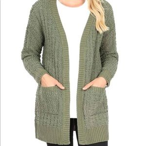 Long Sleeve Cable Popcorn Cardigan Sweater